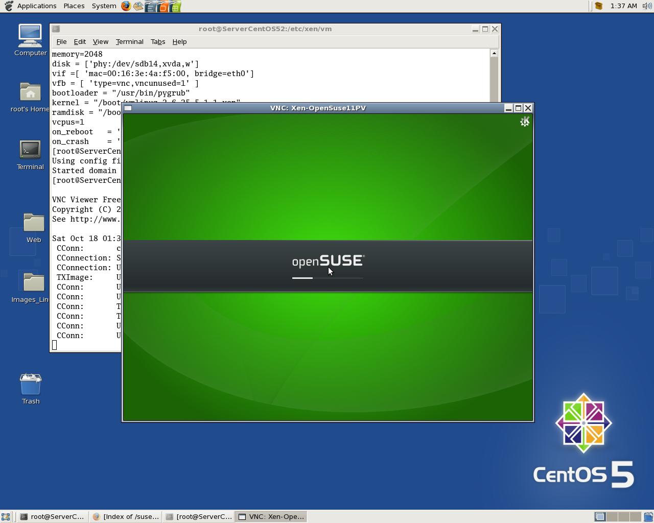 Install OpenSuse 11 DomU at Xen 3.3 CentOS 5.2 Dom0 via local HTTP