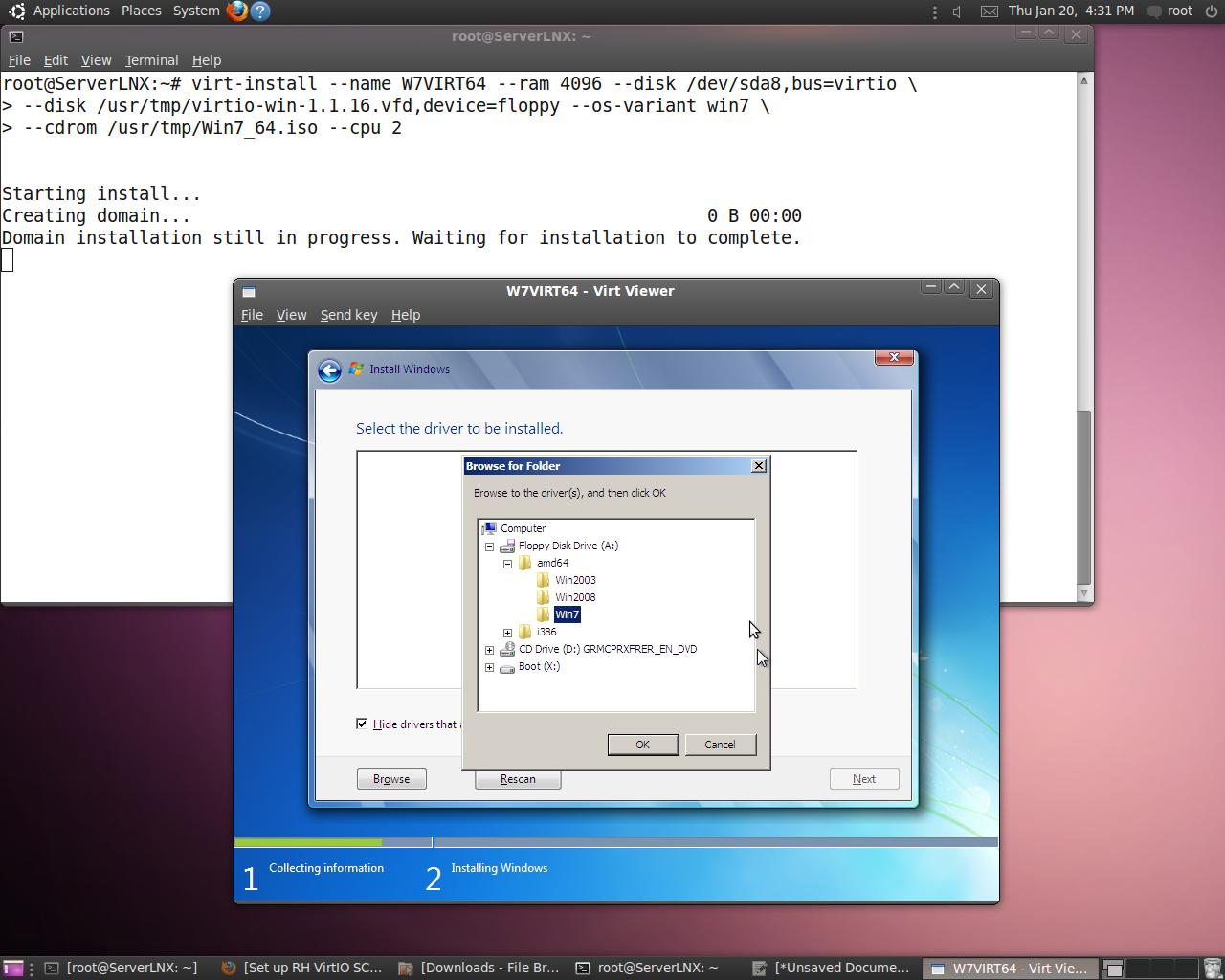 Virtio install Windows 7 KVM (x64/x86) on Ubuntu 10 04 1 Server via