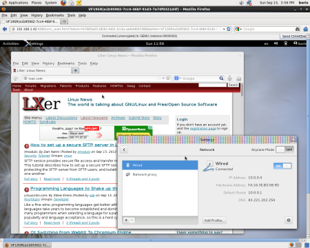 Running Internet browser on F19 instance  via original router on the LAN